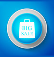 big sale bag icon isolated on blue background vector image vector image