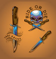 biker skull and knife for colours vector image vector image