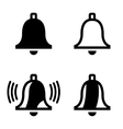 black bell icons set vector image