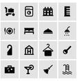 black hotel icon set vector image vector image