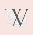 blooming floral initial w monogram and logo vector image