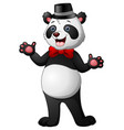 cartoon panda wearing a hat waving vector image vector image