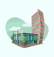 cityscape with modern office buildings vector image