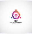 colorful photography community logo symbol icon vector image vector image