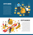cryptocurrency mining business isometric banners vector image vector image