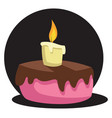 drawing of cake with candle in front of black vector image vector image