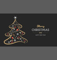 elegant gold and black christmas tree with xmas vector image vector image