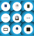 flat icon device set of memory receptacle cpu vector image vector image