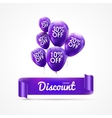 Flying colored lilac balloons with ribbon and vector image vector image