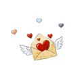 flying envelope with love and colorful hearts vector image