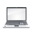 front view laptop is blank screen on white vector image