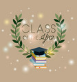graduation card with books and hat vector image vector image