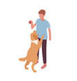 guy playing with dog hold ball isometric vector image vector image