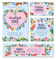 hello spring poster template with flower and berry vector image vector image