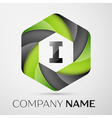 I Letter colorful logo in the hexagonal on grey vector image vector image