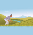 indian agriculture landscape farmer working in vector image vector image