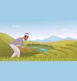 indian agriculture landscape farmer working vector image