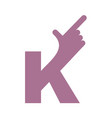 k letter hand isolated forefinger lettering on vector image vector image