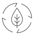 leaf in arrows thin line icon ecology and energy vector image