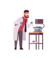 male scientist holding test tubes with blood vector image vector image