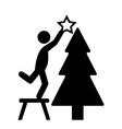 Man with Christmas Tree Decoration Flat Black vector image