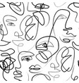 modern female face eyes lips in one line drawing vector image