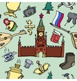 Pattern of Russia hand-drawn icons vector image