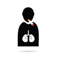 people icon with cigarette and lungs vector image vector image