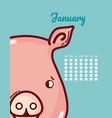 pig and calendar cartoon concept vector image