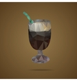 polygonal cup coffee with a green tubule on a vector image vector image