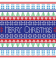 Red blue green white Merry Christmas pattern vector image vector image