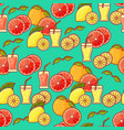 seamless pattern of fruit juice and slices vector image