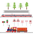 set of objects for the decoration of the railway vector image vector image