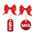 set of sale and discount paper labels with red vector image