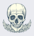 sketched human skull with wings - vintage biker vector image