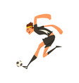 soccer player in black uniform kicking the ball vector image vector image