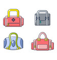 sport bag icon set cartoon style vector image