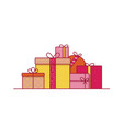 stack of festive gift boxes wrapped in paper and vector image
