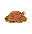 turkey thanksgiving day main dish icon vector image