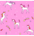 unicorns pattern pink vector image