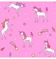 unicorns pattern pink vector image vector image