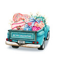 watercolor valentines day pickup backview vector image