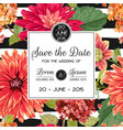 wedding invitation template with asters flowers vector image vector image