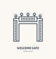 welcome gate flat line icon outdoor advertising vector image vector image
