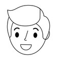 young man head avatar character vector image