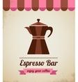 Espresso bar vinatge poster with makineta vector image