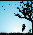 child having fun on a swing outdoor vector image