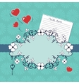 Romantic vignette with flowers and hearts vector image