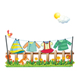 A bunny below the hanging clothes vector image vector image