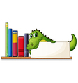 A crocodile holding an empty board above the vector image vector image